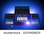 Triple Seven Casino Slot Machines Lucky Game. Glowing Blue Background. 3D Rendered Illustration Concept. - stock photo