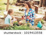 happiness cute little girl and... | Shutterstock . vector #1019413558