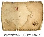 treasure pirates' old map... | Shutterstock . vector #1019415676