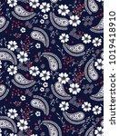 paisley pattern on navy   Shutterstock .eps vector #1019418910