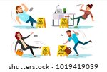 caution wet floor sign. people... | Shutterstock . vector #1019419039