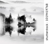 ink and wash mountains and... | Shutterstock . vector #1019419768