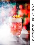 tiki cocktail on the bar in the ... | Shutterstock . vector #1019420776