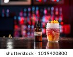 tiki cocktail on the bar in the ... | Shutterstock . vector #1019420800