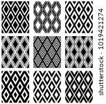 set of seamless diamonds... | Shutterstock .eps vector #1019421274