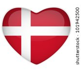Vector - Denmark Flag Heart Glossy Button