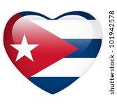 vector   cuba flag heart glossy ... | Shutterstock .eps vector #101942578