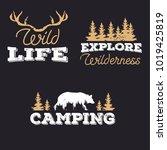 outdoor icons  wildlife badges  ... | Shutterstock .eps vector #1019425819