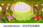 bright fairy tale forest with... | Shutterstock .eps vector #1019426884