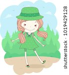 illustration of a kid girl... | Shutterstock .eps vector #1019429128