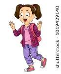illustration of a kid girl... | Shutterstock .eps vector #1019429140