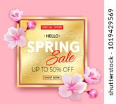 spring sale gold banner with... | Shutterstock .eps vector #1019429569
