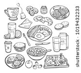 vector sketch collection of... | Shutterstock .eps vector #1019432233