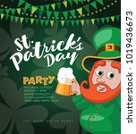 saint patricks day party... | Shutterstock .eps vector #1019436673