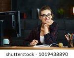 cute girl in working process ...   Shutterstock . vector #1019438890