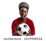 afro girl wearing red uniform... | Shutterstock . vector #1019448316