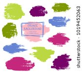 vector paint brush spots  hand... | Shutterstock .eps vector #1019452063
