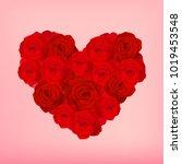 red roses in heart shape...   Shutterstock .eps vector #1019453548