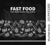 fast food vector  seamless... | Shutterstock .eps vector #1019455300