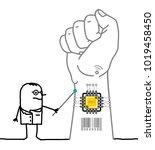 cartoon doctor showing a... | Shutterstock .eps vector #1019458450