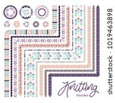 vector knitted ornament brush... | Shutterstock .eps vector #1019463898