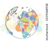 colorful map europe globe. hand ... | Shutterstock .eps vector #1019468938