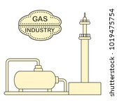gas processing plant. gas... | Shutterstock .eps vector #1019475754