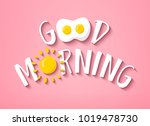 good morning banner with cute... | Shutterstock .eps vector #1019478730