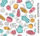 cartoon hand drawn doodles on... | Shutterstock .eps vector #1019478790