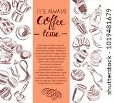 set of coffee symbols lettering ... | Shutterstock .eps vector #1019481679