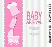 baby arrival card   Shutterstock .eps vector #1019486683