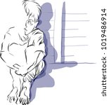 vector art drawing of lonely... | Shutterstock .eps vector #1019486914