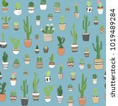 hand drawn different cactuses...   Shutterstock .eps vector #1019489284