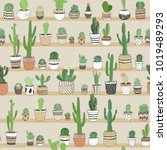 hand drawn different cactuses... | Shutterstock .eps vector #1019489293