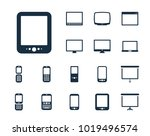tablet icon in set on the white ... | Shutterstock .eps vector #1019496574