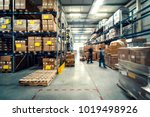 warehouse interior with shelves ... | Shutterstock . vector #1019498926