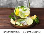 detox drink with cucumber ... | Shutterstock . vector #1019502040
