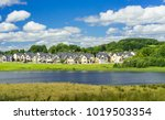 blue sky and white clouds over...   Shutterstock . vector #1019503354