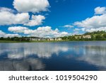 blue sky and white clouds over...   Shutterstock . vector #1019504290