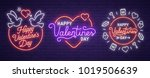 set neon logo  label  emblem.... | Shutterstock .eps vector #1019506639