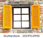 orange wooden window on stone... | Shutterstock . vector #1019513950