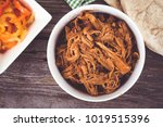 bbq pulled pork bowl over a... | Shutterstock . vector #1019515396