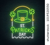 saint patrick's day neon sign ... | Shutterstock .eps vector #1019520550