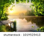 pier on the bank of the river... | Shutterstock . vector #1019525413