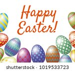 happy easter greeting card with ... | Shutterstock . vector #1019533723