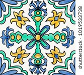 spanish tile with flourish... | Shutterstock . vector #1019533738