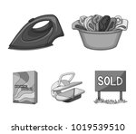 a bowl with laundry  iron ... | Shutterstock .eps vector #1019539510