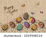hand drawn easter eggs... | Shutterstock .eps vector #1019548114