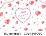 valentine's day background. top ... | Shutterstock .eps vector #1019549080