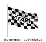 realistic flag auto racing ... | Shutterstock .eps vector #1019550628